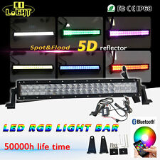 "22""INCH 280W LED Light Bar RGB Offroad Bluetooth Disco Strobe Flash Music Truck"