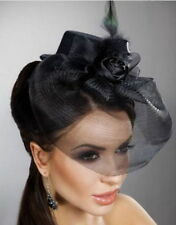 Steampunk/Burlesque/Whitby Mini Top Hat Fascinator with Rose Veil -Gothic Bride