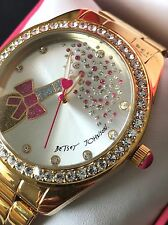 BETSEY JOHNSON BJ00249-34 Womens Crystal Champagne Rose Gold Tone Watch NWT Box