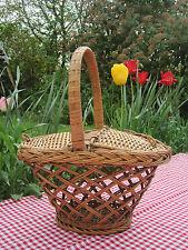 Ancien Panier Champêtre Campagne Pique Nique Osier Rotin Vannerie  wicker picnic