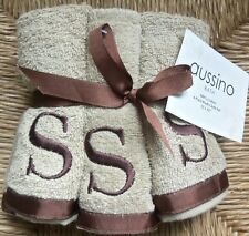 "NWT AUSSINO Monogrammed Tan w/Brown ""S"" 100% Cotton 12x12"" 6 Pack Wash Cloth Set"