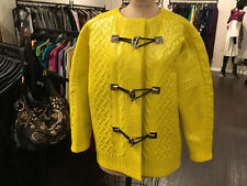 Balenciaga Yellow Gray Patent Coated Wool Knit Coat Runway 2015 - NWT