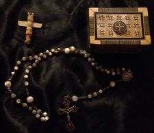 Rare Antique Mother of Pearl Rosary Italy Crucifix W/ Case & Totem