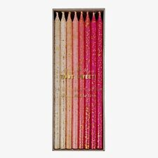Meri Meri Pink Taper Tall Glitter Candles Girly Party Pastels Birthday Cake