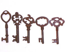 ANTIQUE 1800'S STYLE  IRON SKELETON KEYS LOT OF 5 - B
