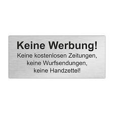 Edelstahl Briefkastenschild KEINE WERBUNG / KEINE WURFSENDUNG 80 x 35 mm (ZB4)