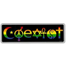 "COEXIST BUMPER STICKER 10""x3"" Vinyl Rainbow LGBT Gay Pride Religious Tolerance"