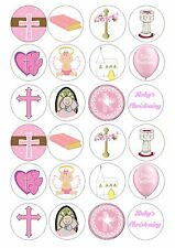 24 Christening Baptism Girl Wafer / Rice Paper Edible Topper Cupcake Fairy Cake