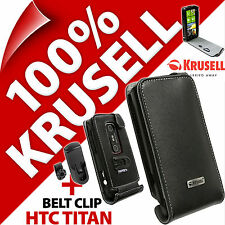 New Krusell Orbit Flex GENUINE LEATHER Flip Case Cover + Belt Clip for HTC Titan