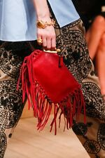 VALENTINO GARAVANI FRINGED PISCES RED CLUTCH BAG