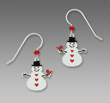 Sienna Sky SNOWMAN w/ CARDINAL EARRINGS STERLING Silver Bird Christmas Dangle