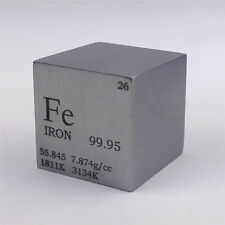 1 inch 25.4mm Pure Iron Metal Cube 128g 99.95% Marked Periodic Table of Elements