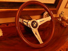 "BMW 1600 1800 2002 Baur 13.75"" Wood Steering Wheel  Deep Dish 3"" NARDI NEW"