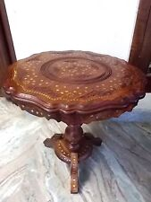 "21"" Round Table w Inlaid Brass Work Hand Carved Coffee Round Table Foldable New"