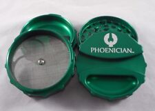 "Large 3.22"" Green Phoenician 4 Part Grinder with Paper Holder & Rubber Bumpers"