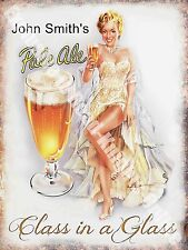 Vintage Drink John Smith's Pale Ale Girl Beer Bar Pub Cafe Small Metal/Tin Sign