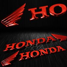 "2x 7""x 1.5""3D ABS Emblem Decal Wing Logo+Letter Glossy Sticker Honda Chromed Red"