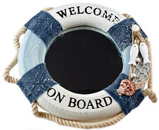 Welcome On Board Wall Mirror - Nautical Boat Life Ring Preserver Decoration