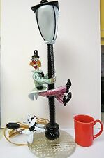 Murano Art Glass Italian Seguso Clown Lamp With Clown Shimming Up Pole And Dog