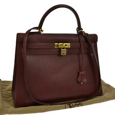 Authentic HERMES KELLY 35 2way Hand Bag Couchevel Burgundy Vintage GHW JT03556