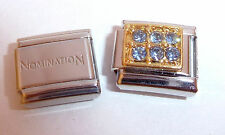 BLUE GEMS GOLD RECTANGLE 9mm Italian Charm + 1 x GENUINE Nomination Classic Link