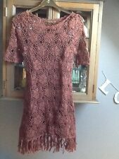 Next brown crochet 3/4 sleeve dress with fringe M
