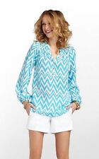 Lilly Pulitzer Elsa Top Blouse Get Your Chevron On Turquoise NEW NWT XS 2 4