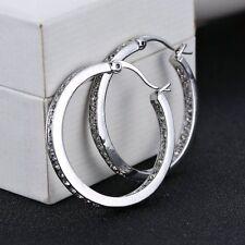 """Ladies Fashion Jewelry 925 Sterling Silver & Rhinestone 1 1/2"""" Hoop Earrings"""