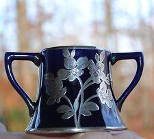 Vintage Cobalt Porcelain Open Sugar Two Handled Bowl Sterling Silver Overlay