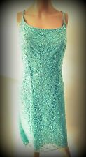 UK size 16 PRECIS PETITE Viscose/Nylon turquoise sequined net shift dress.