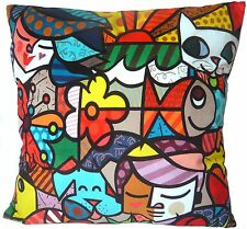 """Pop art abstract girl boy dog cat fish flower butterfly funny cushion cover 18"""""""
