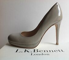 NEW was £195! LK BENNETT SIZE 41EU/7to8UK SLEDGE PATENT COURT 'CLAY'(GREY/NUDE)