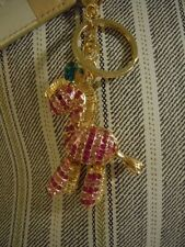 Fabulous & BEAUTIFUL Pink Zebra Rhinestone & Medal Alloy Purse Charm / Keychain