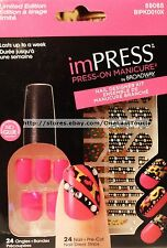KISS imPRESS 24 Press-On CHA-CHA Manicure+Strip NAIL DESIGNER KIT Pink 59065 Set
