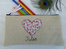 Handmade Personalised Heart Pencil Case choice of wording vintage floral & linen