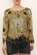 x 5 Wholesale/Job Lot Vintage Embellished Sequin Silk Party Tops Clothes