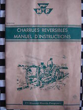 MASSEY-FERGUSON 1958 CHARRUES REVERSIBLES MANUEL D'INSTRUCTIONS