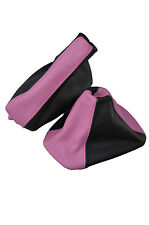 PINK  BLACK FITS BMW 3 SERIES E36 E46 GEAR HANDBRAKE GAITER LEATHER 2 TONE