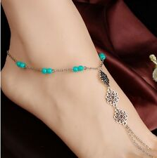 "10"" Flower Barefoot Sandal Silver Chinese Knot Ankle Chain Anklet Bracelet Gift"