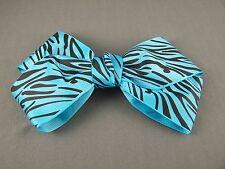 "Aqua Black zebra stripe print big Huge BOW 6.25"" wide barrette hair clip kawaii"