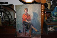 Vintage Rubinfeld Oil Painting-Portrait Lovely Blond Woman Wearing Skirt-Legs