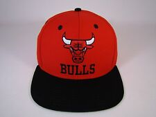 Chicago Bulls Snapback Hat Stacked Logo Vintage Deadstock Red Black Adidas