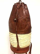 Handmade Leather & Straw Cylinder Backpack Rugged Rustic Travel handbag Rucksack