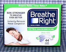 44 CLEAR STRIPS Breathe Right Extra Nasal Strips Relieves Congestion DRUG FREE