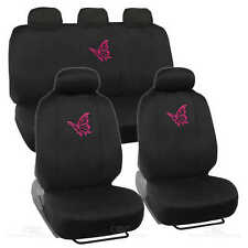 Pink Butterfly Seat Covers for Car SUV Front & Rear Set