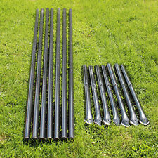 Steel Posts - Galvanized - Black PVC Coated (7-Pack) For 6' Deer Fencing