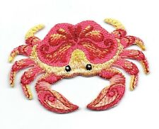 Iron On Embroidered Applique Patch - Crustacean Natural Tropical Crab