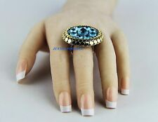 JOHN HARDY RARE! ST.SILVER & GOLD SWISS BLUE TOPAZ DOT RING SIZE 7 NEW BOX 26R