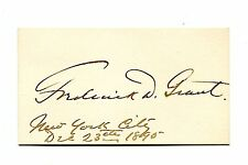 Autograph FREDERICK GRANT Signature on card 1895 son of President Ulysses Grant