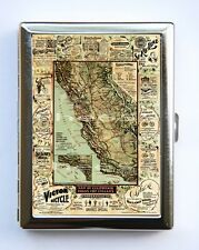 Map of California for Cyclers Cigarette Case Wallet Business Card case bicycles